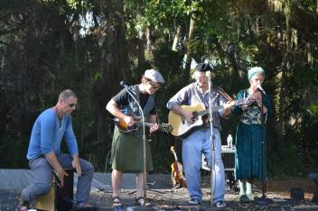 Playing at Historic Spanish Point, Kaylene's first performance. How do you like John's kilt?