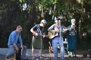 Playing at Historic Spanish Point, Kaylene's first performance. How do you like John's kilt?