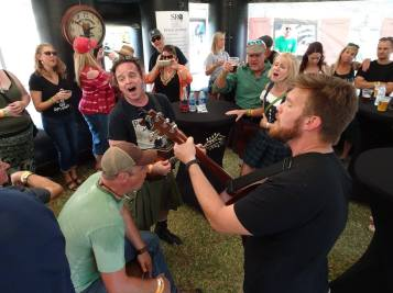 Getting the crowd to sing along in the Wandering Pub